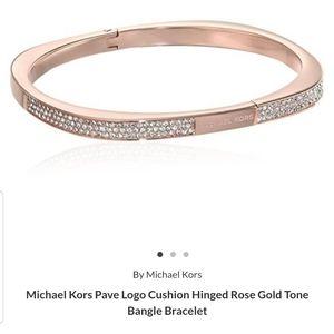 Mk Pave Rose gold Logo Cushion Hinged Bangle